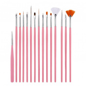 Glorrt 15PC Nail Art Design Painting Dotting Detailing Pen Brushes Bundle Sets Kits