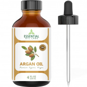 Argan Oil - 100% Pure and Natural Organic Moroccan - 120ml with Glass Dropper - Cold Pressed - Excellent for Face, Skin, Nails and Hair Care, Beauty in a Bottle by Essential Oil Labs