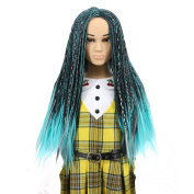 Yuehong Green Long Braided Box Braid Wig Synthetic Braided Wigs For Child