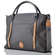 PacaPod Mirano Pewter Designer Baby Changing Bag - Luxury Grey Tote 3 in 1 Organising System