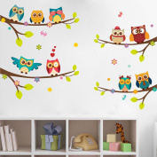 Rainbow Fox kids animal wall decal owl sticker branch leaves ,best for baby's room decoration