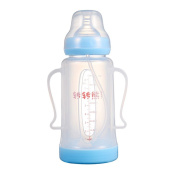 240ml PP Wide Mouth Baby Infant Kids Pacifier Nipple Feeding Milk Bottle, Toddler Water Bottle With Non slip Handle & Cup Cover