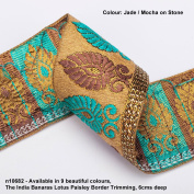 Neotrims Lotus Paisley Floral Jacquard Silk Handle Ribbon Trim Decoration; Traditional 9 metres Reel for Sari Border. Also for Salwar Kameez, For Crafts and Home Décor. 6cms Deep Upright Decorative Paisley design set on a Natural Stone Colour Imitation ..