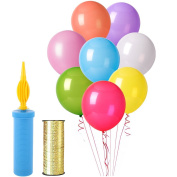 Assorted Colour Party Latex Balloons, 100 Pcs Birthday Balloons with Hand Held Air Pump and 100 Yard Poly Crimped Curling Ribbon Roll