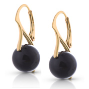 Premium Earrings with Black Pearls 18ct Yellow Gold Finish Sterling Silver Lever Back Gift for Women and Girls Gift Box Birthday Christmas Anniversary Mother's Day
