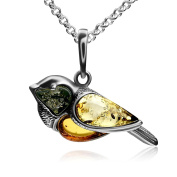 Multicolor Amber Sterling Silver Bullfinch Bird Pendant Necklace Chain 46 cm