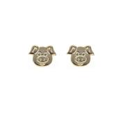 9ct gold little piggy pig stud earrings. Gift box