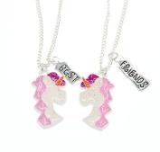 Girls BFF Best Friends Silver Pink Sparkling Unicorn Necklace Pendant Set Gift