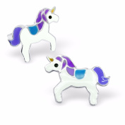 Silvadore - 925 Sterling Silver Childrens Stud Earrings - Unicorn Horse - Butterfly Clasp - .