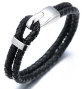 "Halukakah ""CLASSIC"" Men's Genuine Leather Bracelet 2 Wrap Titanium Fishhook Clasp with FREE Giftbox"