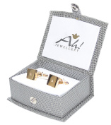 Men's GIFTBOXED Gold Filled 18Kt Square Cufflinks UK Guarantee