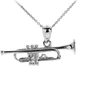 925 Sterling Silver 3D Trumpet Music Pendant Necklace