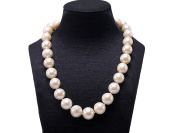 JYX Huge 13-16mm Round White Freshwater Edison Pearl Necklace 18""