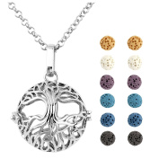 JOVIVI 12 Dyed Lava Stone Aromatherapy Essential Oil Diffuser Tree Of Life Locket Pendant Necklace 70cm With Gift Box