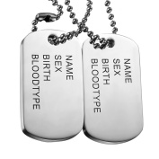2Pcs Stainless Steel Mens Cool Army Military Dog Tag Pendant Necklace,Silver