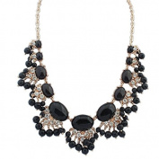 Black & Crystal's Exaggerated Bead Statement Necklace Collar Choker Fashion Jewellery