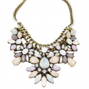Vincenza Fashion Ladies Teardrop Flower Shaped Rhinestone Colourful Statement Necklace