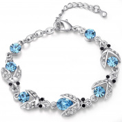 FLORAY Ladies Blue Firefly Bracelet, Beautiful Crystals, Sparkling Zircon, White Gold Plated.