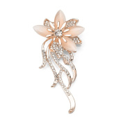 Women Bouquet Brooch Pin With Charming Rhinestone Opal Flower for Party Wedding Bridal