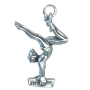 Gymnast on beam sterling silver charm .925 x 1 Gymnastics charms SSLP1987
