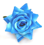 Blue Open Rose Artificial Hair Flower Clip Buttonhole Corsage by Fabulous Fascinators