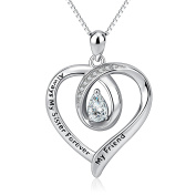 """YFN Sterling Silver Heart Necklace with """"Always My Sister Forever My Friend"""" Infinity Love Pendant Jewellery for Women Girls"""