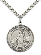 Sterling Silver St. Patrick Pendant with 60cm Stainless Steel Heavy Curb Chain. Patron Saint of Snakes/Engineers/Ireland