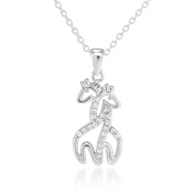 925 Sterling Silver Simulated Cubic Zirconia Twin Hugging Giraffe Pendant Necklace 46cm