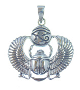 Silver Lucky Charm and Pendant Scarab with Eye Of Horus Symbol of Resurrection and Life, 925 Sterling Silver, Length 4 cm, 3.3 cm Wide