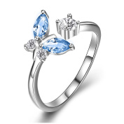 Sterling Silver Butterfly Open Ring with Gift Box for Women Girls