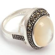 Sweet & Happy Girl'S Store 12x14mm Oval Beads Tibetan Silver Base Marcasite Ring 17x21mm Send By Random US# US#6-#9 Women