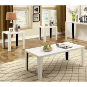 Furniture of America Ziyon 2-Tone 3-Piece Accent Table Set White Glossy, White Finish