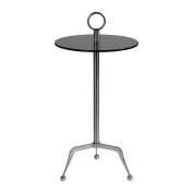 Modern Silver Tripod Accent Table | Metal Charcoal Grey Glass Pedestal