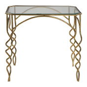 Gold Swirl Metal Glass Accent End Table | Modern Elegant Open Scroll