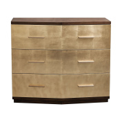 Stunning Brushed Gold Leaf Accent Chest | Metallic Mid Century Modern Glam