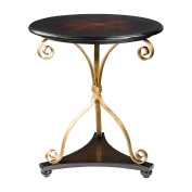 Elegant Small Gold Scroll Curls Accent Table | Dark Wood Antique Style