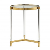 Glam Modern Clear Rods Glass Gold Accent Table | Round Pedestal Side