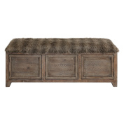 Shaggy Faux Fur Rustic Wood Storage Bench | Accent Cabinet Doors Long