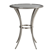Elegant Curved Silver Metal Round Accent Table | Beaded Pedestal Glass Top