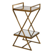 Tiered Gold Bronze Metal Accent X Table | 2 Shelves Minimalist Mirrored