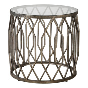 Open Silver Fretwork Drum Accent Table | Round End Cage Tribal