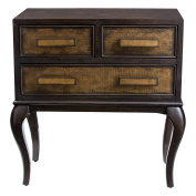 Classic Burl Wood 3 Drawer Accent Chest | Bronze Dark Curved Table