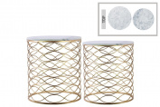Nesting Accent Table with Marble Top Wave Design Set of Two - Gold - Benzara