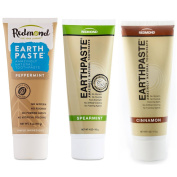 Redmond Life Earthpaste Amazingly Natural Cinnamon, Spearmint and Peppermint Toothpaste Bundle With Bentonte Clay and Tea Tree Essential Oil, 120ml each