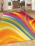 Modern Contemporary Waves Non-Slip (Non-Skid) Area Rug 8 x 10 (2.1m x 3m) Multi