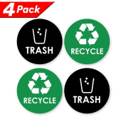 Recycle Trash Bin Logo Sticker - 10cm x 10cm - Organise & Coordinate Garbage Waste from Recycling - Great for Metal Aluminium Steel or Plastic Trash Cans - Indoor & Outdoor - Use at Home Kitchen & Office