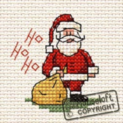 Mouseloft Mini Cross Stitch Card Kit - Ho Ho Ho Santa, Christmas Collection