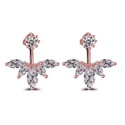 Skyllc® Fashion Lady Zircon Leaf Feather Ear Jacket Earrings Ear Studs