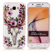 Galaxy J5 Prime Luminous Case, BONROY® Fluorescent Effect Night Glow In The Dark Transparent Ultra-Thin Soft Gel TPU Silicone Bumper Case Stylish Unique Colourful Printed Pattern Design Anti-Scratch Shock Absorption Protective Case Cover for Samsung Ga ..