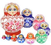 VStoy Beautiful Wooden Russian Nesting Doll Toy Russian Doll Wishing Dolls Handmade Hot Sale 10pcs
